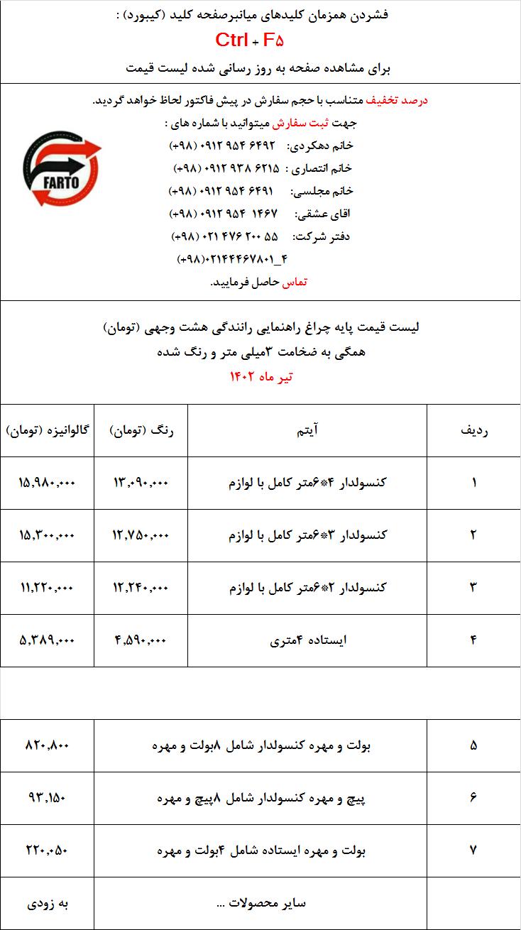 لیست قیمت پایه چراغ راهنمایی و رانندگی 8 وجهی